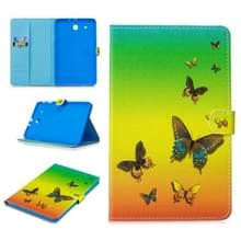 Voor Samsung Galaxy Tab E T560 Stitching horizontale flip lederen hoes met Holder & Card Slots (Rainbow Butterfly)