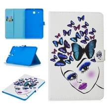 Voor Samsung Galaxy Tab E T560 Stitching horizontale flip lederen hoes met Holder & Card Slots (Butterfly Girl)