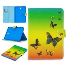 Voor Samsung Galaxy Tab S2 8.0 T715 Stitching Horizontale Flip Lederen case met Holder & Card Slots & Sleep / Wake-up Functie(Rainbow Butterfly)