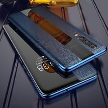 Voor Huawei P20 Genuine Leather Smart Flip Protective Case(Blauw)