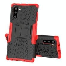 Voor Samsung Galaxy Note10 Tire Texture Schokbestendige TPU+PC beschermhoes met houder(rood)