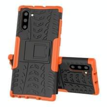 Voor Samsung Galaxy Note10 Tire Texture Schokbestendige TPU+PC beschermhoes met houder(oranje)