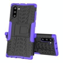 Voor Samsung Galaxy Note10 Tire Texture Schokbestendige TPU+PC beschermhoes met houder(Paars)