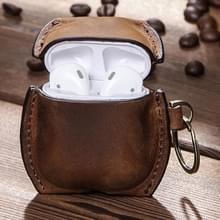 CF1106 Voor AirPods 1 / 2 Crazy Horse Texture PU Lederen oortelefoon beschermhoes met sleutelhanger(Bruin)
