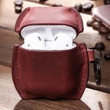 CF1106 Voor AirPods 1 / 2 Crazy Horse Texture PU Lederen oortelefoon beschermhoes met sleutelhanger (Wijn rood)
