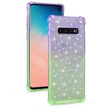 Voor Samsung Galaxy S10e Gradient Glitter Powder Shockproof TPU Beschermhoes (Paars groen)