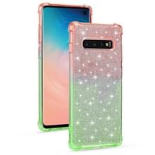 Voor Samsung Galaxy S10e Gradient Glitter Powder Shockproof TPU Beschermhoes (Oranje Groen)
