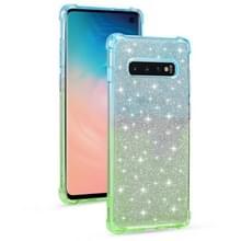 Voor Samsung Galaxy S10e Gradient Glitter Powder Shockproof TPU Beschermhoes (Blauwgroen)