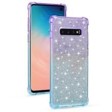 Voor Samsung Galaxy S10e Gradient Glitter Powder Shockproof TPU Beschermhoes (Paars blauw)