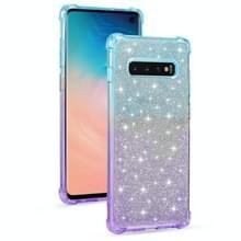 Voor Samsung Galaxy S10e Gradient Glitter Powder Shockproof TPU Beschermhoes (Blauw Paars)