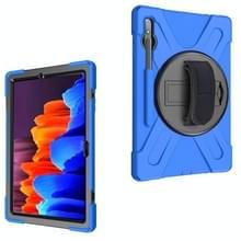 Voor Samsung Galaxy Tab S7 Plus Schokbestendige Kleurrijke Siliconen + PC Beschermhoes met Holder & Schouderband & Handband(Blauw)