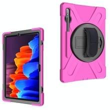 Voor Samsung Galaxy Tab S7 Plus Schokbestendige Kleurrijke Siliconen + PC Beschermhoes met Holder & Shoulder Strap & Handband (Rose Red)