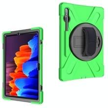 Voor Samsung Galaxy Tab S7 Plus Schokbestendige Kleurrijke Siliconen + PC Beschermhoes met Holder & Schouderband & Handband(Groen)