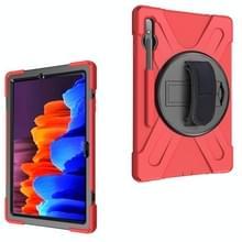 Voor Samsung Galaxy Tab S7 Plus Schokbestendige Kleurrijke Siliconen + PC Beschermhoes met Holder & Schouderband & Handband(Rood)