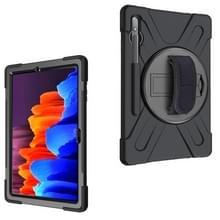 Voor Samsung Galaxy Tab S7 Plus Schokbestendige Kleurrijke Siliconen + PC Beschermhoes met Holder & Shoulder Strap & Hand Strap(Zwart)