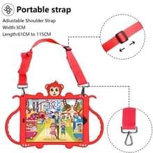 Voor iPad 10.2 Cartoon Monkey Kids Tablet Schokbestendige EVA beschermhoes met Holder & Shoulder Strap & Handle(Red)