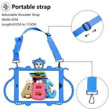Voor iPad 10.2 Cartoon Monkey Kids Tablet Schokbestendige EVA beschermhoes met Holder & Shoulder Strap & Handle(Blue)