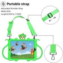 Voor iPad 10.2 Cartoon Monkey Kids Tablet Schokbestendige EVA beschermhoes met Holder & Shoulder Strap & Handle(Groen)