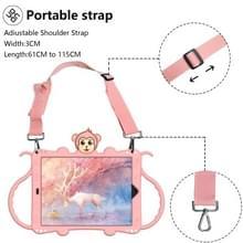 Voor iPad 10.2 Cartoon Monkey Kids Tablet Schokbestendige EVA beschermhoes met Holder & Shoulder Strap & Handle(Rose Gold)