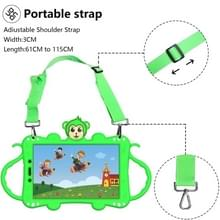 Voor Samsung Galaxy Tab A8.0 (2019) T290 Cartoon Monkey Kids Tablet Schokbestendige EVA beschermhoes met Holder & Shoulder Strap & Handle(Groen)