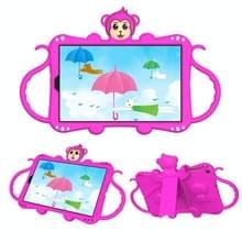 Voor Samsung Galaxy Tab A 10.1 (2019) T510 / T515 Cartoon Monkey Kids Tablet Schokbestendige EVA beschermhoes met Holder & Schouderband & Handvat(Rose Red)