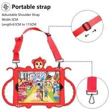 Voor iPad 9.7 (2018) Cartoon Monkey Kids Tablet Schokbestendige EVA beschermhoes met Holder & Shoulder Strap & Handle(Rood)