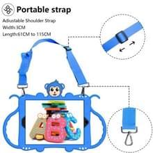 Voor iPad 9.7 (2018) Cartoon Monkey Kids Tablet Schokbestendige EVA beschermhoes met Holder & Shoulder Strap & Handle(Blauw)