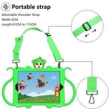 Voor iPad 9.7 (2018) Cartoon Monkey Kids Tablet Schokbestendige EVA beschermhoes met Holder & Shoulder Strap & Handle(Groen)