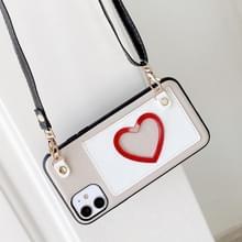 Voor iPhone 11 Pro Max Hartpatroon PU + TPU + PC Case met kaartslot & schouderband(Wit)