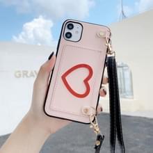 Voor iPhone 11 Pro Max Hartpatroon PU + TPU + PC Case met kaartslot & schouderband(Roze)