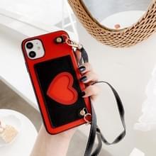 Voor iPhone 11 Hartpatroon PU + TPU + PC Case met kaartslot & schouderband(Rood + Zwart)