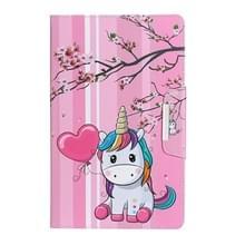 Voor Samsung Galaxy Tab A 9.7 / T550 Painted Pattern Horizontale Flip Lederen behuizing met houder (Sakura Unicorn)