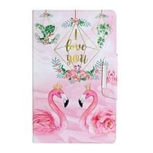 Voor Samsung Galaxy Tab E 9.6 / T560 Painted Pattern Horizontale Flip Lederen case met houder (Bladeren Flamingo)