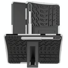 Voor Samsung Galaxy Tab S7+ T970 / T976B Band Texture Shockproof TPU + PC Beschermhoes met houder(wit)