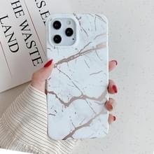 Voor iPhone 12 Pro Max Verguld marmeren patroon zachte TPU beschermhoes (Wit)