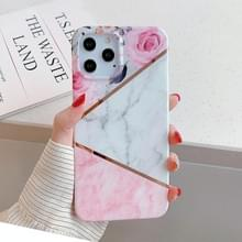 Voor iPhone 12 Plating Splicing Pattern Soft TPU Beschermhoes(Rose)
