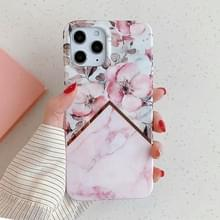 Voor iPhone 12 Max / 12 Pro Plating Splicing Pattern Soft TPU Beschermhoes (Apple Blossom)