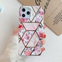 Voor iPhone 12 Pro Max Plating Splicing Pattern Soft TPU Beschermhoes (Retro Flower)