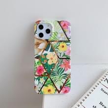 Voor iPhone 12 Pro Max Plating Splicing Pattern Soft TPU Beschermhoes (Kleurrijke bloem)
