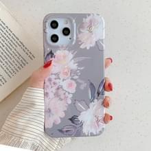 Voor iPhone 12 Max / 12 Pro Laser Patroon Zachte TPU beschermhoes (Grijze achtergrond roze bloem)