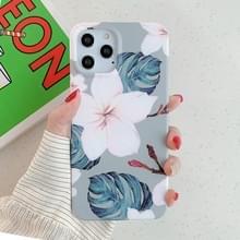 Voor iPhone 12 Bloem patroon zachte TPU beschermhoes (Roze Bloem groene bladeren)