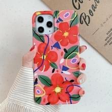 Voor iPhone 12 Max / 12 Pro Flower Pattern Soft TPU Beschermhoes (Rode bloem)