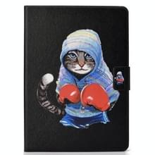 Voor iPad Air 2020 10.9 Elektrisch geperst gekleurde tekening horizontale flip lederen kast met Holder & Card Slots & Sleep / Wake-up Function(Boxing Cat)