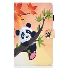 Voor Samsung Galaxy Tab A7 10.4 2020 T500 Gekleurde tekenstiksels horizontale flip lederen behuizing  met Holder & Card Slots (Panda)