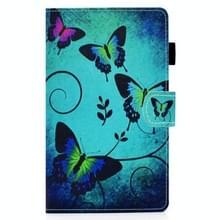 Voor Samsung Galaxy Tab A7 10.4 2020 T500 Gekleurde tekenstiksels Horizontale Flip Lederen behuizing met houder & kaartslots (groene vlinders)