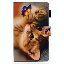 Voor Samsung Galaxy Tab A7 10.4 2020 T500 Gekleurde tekenstiksels horizontale flip lederen kast met houder & kaartslots (Butterfly Cat)