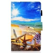 Voor Samsung Galaxy Tab A7 10.4 2020 T500 Gekleurde tekenstiksels horizontale flip lederen kast met houder & kaartslots (Blauwe hemel zeester)