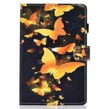 Voor Samsung Galaxy Tab S7 T870 Gekleurde tekening horizontale flip lederen kast met Holder & Card Slots & Pen Slot & Sleep / Wake-up Functie(Gold Butterfly)