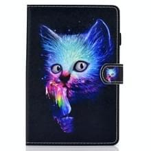 Voor Samsung Galaxy Tab S7 T870 Gekleurde tekening horizontale flip lederen koffer met Holder & Card Slots & Pen Slot & Sleep / Wake-up Functie(Magic Cat)