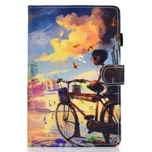 Voor Samsung Galaxy Tab S7 T870 Gekleurde tekening horizontale flip lederen koffer met Holder & Card Slots & Pen Slot & Sleep / Wake-up Functie(Cycling Boy)